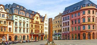 MAINZ GERMANY - APRIL 14: beautiful market place on April 14 2013 in Mainz Germany. In the middle is the famous 1000 years old HHeunensaeule made of sandstone.
