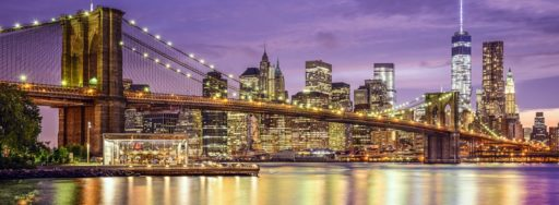New York, New York, USA city skyline with the Brooklyn Bridge and Manhattan Financial District over the East River.