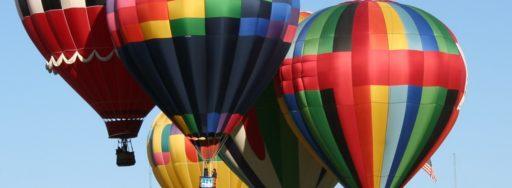 Hot air balloons in flight over Albuquerque.